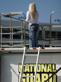 A friend of Greg Biffle monitors on-track action