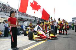 Flag and grid girls for Andrew Ranger