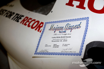 The Mojave Airport speed trap certificate sits proudly on the BAR Honda 007 Bonneville 400 record car