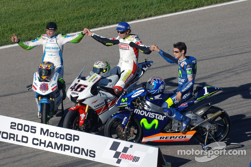 The traditional Word champions shoot: 2005 MotoGP World champion Valentino Rossi, with 125cc ...