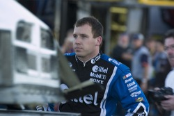 Ryan Newman checks out the damage to the #12