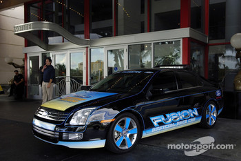 The 2006 Ford Fusion pace car on display at the Hotel Sofitel