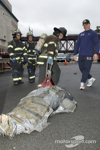 2005 NASCAR Nextel Cup Series Champion Tony Stewart, tours the FDNY training center on Randall's Island
