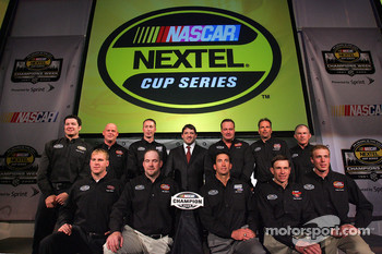 The 2005 NASCAR champions pose for a photo at the NASCAR Press Conference