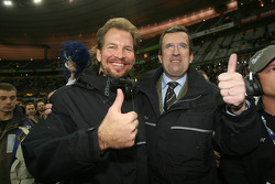 Race of Champions organizer Fredrik Johnsson with head of Stade de France Pascal Simonin