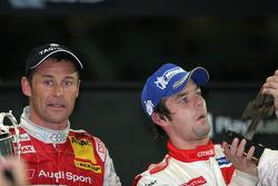 Race of Champions winner Sébastien Loeb celebrates with runner-up Tom Kristensen