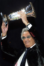 Flavio Briatore celebrates Formula One constructors championship