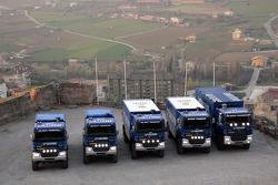 Team de Rooy: the three rally truck DAF CF75 FAV4x4, the service truck DAF CF85 FAZ6x6 and the service truck DAF CF75 FAV4x4