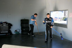 Ryan Newman helps clean up the Alltel Dodge garage