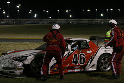 #46 Michael Baughman Racing Corvette: Michael Baughman, Ray Mason, John Connolly, Frank Del Vecchio, Bryan Collyer pulled from the tire wall