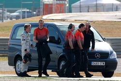 Kimi Raikkonen stopped on track