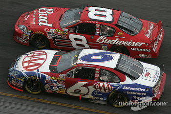 Dale Earnhardt Jr. and Mark Martin battle for the lead
