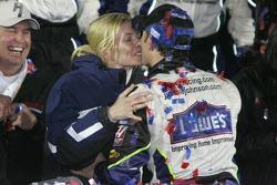 Victory lane: race winner Jimmie Johnson celebrates with wife Chandra