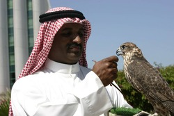 McLaren media breakfast at the Ritz Hotel: a Sheik and a falcon