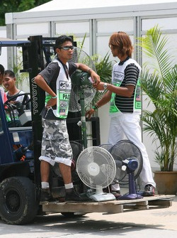 Workers at Sepang