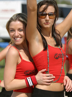 Beach volley match: Bacardi girls about to play beach volley