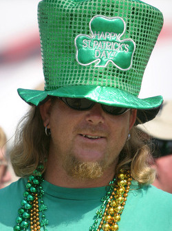 A fan celebrates St. Patrick's Day