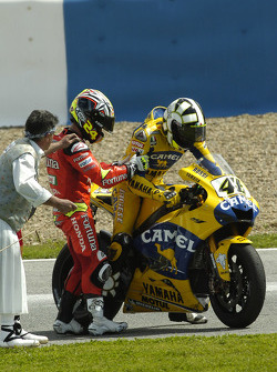 Valentino Rossi and Toni Elias discuss the incident at the start