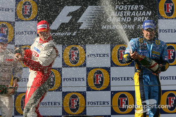 Podium: champagne for Ralf Schumacher and Fernando Alonso