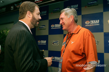Texas Motor Speedway general manager Eddie Gossage and Mack Brown head coach of University of Texas football speak during a press conference
