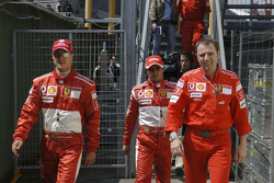 Michael Schumacher, Felipe Massa and Stefano Domenicali