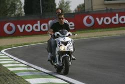 Clivio Piccione inspects the track