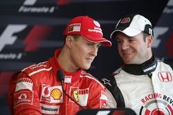 Press conference: pole winner Michael Schumacher with Rubens Barrichello