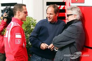 Michael Schumacher, Gerhard Berger and Willi Weber