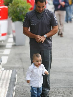Juan Pablo Montoya with his son Sebastian