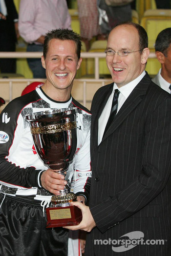 Charity football match: Prince Albert of Monaco and Michael Schumacher