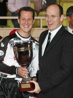 Charity football match: Prince Albert of Monaco and Michael Schumacher