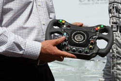 Steinmetz Diamonds present the new steering wheel for Monaco race in a ice race car with diamonds in