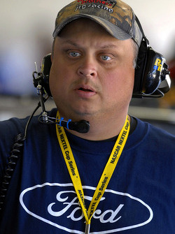 Fat Back Mike McSwain, team manager for Woods Brothers Racing