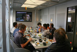 McLaren Mercedes team watch Germany in the World Cup