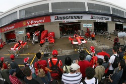 Fans check out Ferrari garage