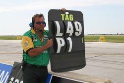 Alex Tagliani's pit borad man tells him he is in position 1