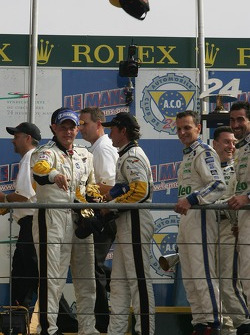 LMGT1 podium: class winners Olivier Gavin, Olivier Beretta and Jan Magnussen