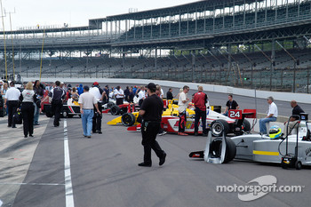Indy Pro Series cars lined up for qualifying