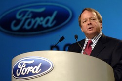 Edsel Ford takes part in an employee pep rally at Ford World Headquarters