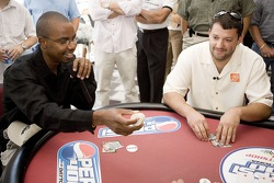 Tony Stewart gets poker advice from 2005 World Series of Poker runner-up Corey Bierra