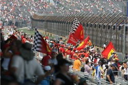 Tifosi celebrate Michael Schumacher's pole position