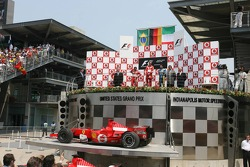 Podium: race winner Michael Schumacher with Felipe Massa and Giancarlo Fisichella