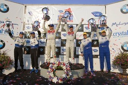 LMP1 podium: class and overall winners Rinaldo Capello and Allan McNish, with second place Chris McMurry and Michael Lewis, and third place James Weaver and Butch Leitzinger