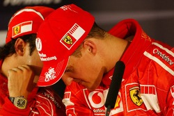 Press conference: pole winner Michael Schumacher with Felipe Massa