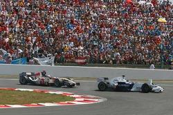 Jacques Villeneuve locks up overtaking Rubens Barrichello