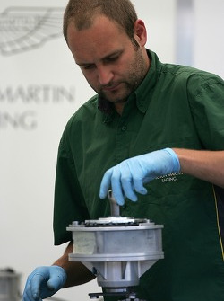 Aston Martin Racing crew member at work