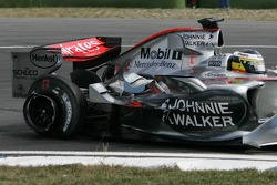 Pedro de la Rosa hit by Ralf Schumacher