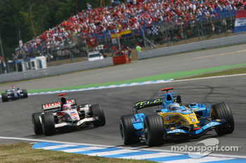Fernando Alonso, Rubens Barrichello and Mark Webber
