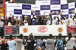 GT1 podium: overall and class winners Eric van de Poele, Michael Bartels and Andrea Bertolini, with second place Stephane Lemeret, Jean-Denis Deletraz, Andrea Piccini and Marcel Fassler, and third place Bert Longin, Anthony Kumpen, Mike Hezemans and Kurt