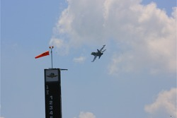 Tony Raines and pilot Col. Chris 'Bert' Colbert fly over the Indianapolis Motor Speedway